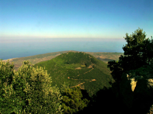Monte Gibele a Pantelleria, visto dall'alto
